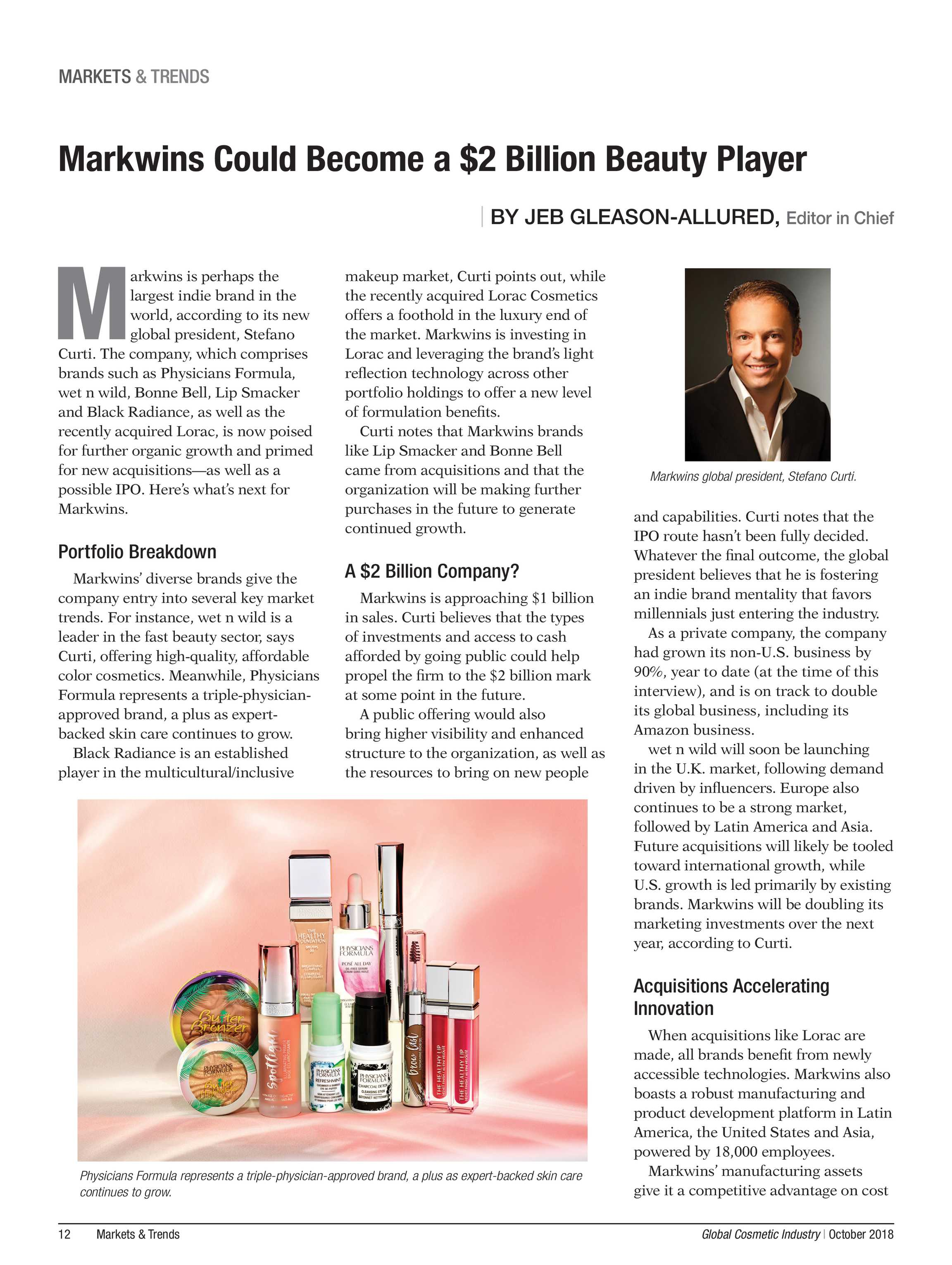 Global Cosmetic Industry Magazine - October 2018 - page 12
